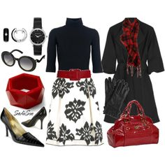 Love the red bag, belt, love the coat! Love it all!!!