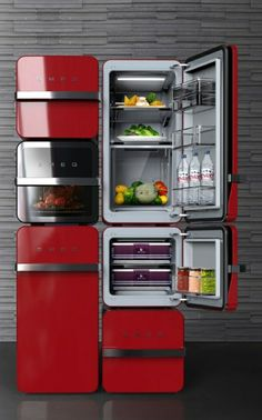 Brick suggests the individual refrigerator which can be combined and made by people's environments and diets. So users can make a individual refrigerator.Each module which has 2 different sizes, perform different roles such as refrigerator, freezer, and… Interior Design Kitchen, Kitchen Decor, Kitchen Gadgets, Kitchen Appliances, Smeg Kitchen, Vintage Appliances, Cuisines Design, Deco Design, Tiny Living