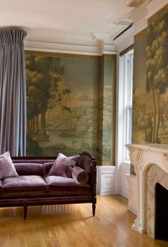 Interior Wallpaper Trends for From oversized florals to wall-size Renaissance portraiture. Interior Wallpaper, Wall Wallpaper, De Gournay Wallpaper, Living Spaces, Living Room, Interior Decorating, Interior Design, Decorating Ideas, Modern Interior