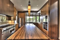 Zebra wood kitchen island top by J. Aaron