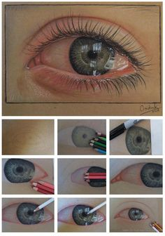 Watery eye colored pencil drawing