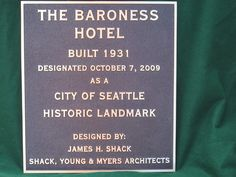 Cast Bronze Plaque -The Baroness Hotel-  handcrafted by a small family owned and operated foundry - Paul W. Zimmerman Foundries, Co. dba Erie Landmark Company  Find us on the web at www.erielandmark.com  or place an order by sending an email to info@erielandmark.com... or call 1-800-874-7848