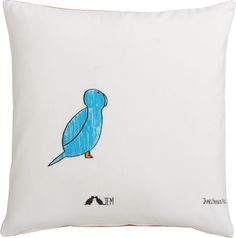 """Blue Bird 16"""" pillow. CAD 39.95 each Little blue chirper comes in for a landing from our friends at San Francisco's Creativity Explored, a nonprofit visual arts center where artists with developmental disabilities create, exhibit and sell art (learn more at creativityexplored.org). Best known for his ink drawings of miniature scenes, artist James Miles combines imagery that blurs the limits of perspective.  100% cotton square reverses to solid orange."""