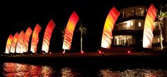 Wind Visuals Feather Banners at night for your reception. Wedding Flags, Dj Equipment, Event Services, Wedding Vendors, Corporate Events, Event Decor, Event Planning, Special Events, Reception