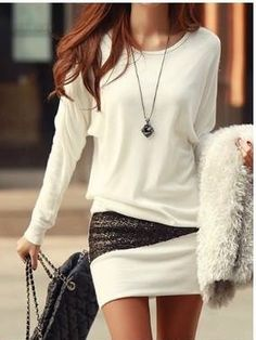 3ab0fbbed66 Simple Style Scoop Neck Long Sleeve Sequin Embellished Packet Buttock  Cotton Blend Dress For Women