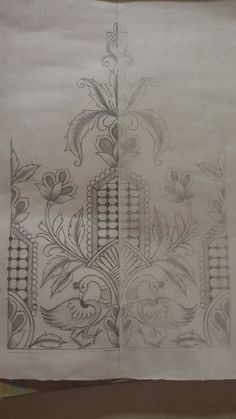 Border Embroidery Designs, Hand Work Embroidery, Paper Embroidery, Machine Embroidery Patterns, Saree Painting Designs, Paper Collage Art, Hand Painted Fabric, Pencil Design, Henna Patterns