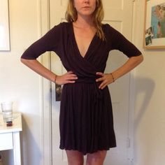 LAILA AZHAR Wrap Plum Purple Dress M Another tags off never worn dress that wont fit in my closet! Beautiful soft caped modal fabric wrap dress for a night out, or vacation. Low plunging neckline and mud length sleeves Laila Azhar  Dresses