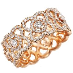 De Beers Enchanted Lotus Diamond & 18K Rose Gold Band Ring