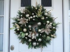 Holiday Wreath: Sage Green, Cream, and Taupe Sparkling Wreath by RoyalStreetBoutique on Etsy