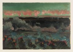 Artwork page for 'Peat Burning', John William Inchbold, c.1864-6 This work captures the spectacle of stubble or peat burning, or tin smelting in Cornwall, and was probably done from observation. The atmospheric effects, mauve smoke, pink clouds and green sky are unusual at this period.It became commonplace in the 19th century to see nature and industry as opposites, but here the two are merged. Inchbold has set aside picturesque landscape conventions in favour of horizontal bands of colour…