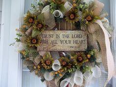 Primitive~Trust In The Lord~ Door~Wreath~Flowers~Bow~Mesh Wreaths For Front Door, Door Wreaths, Grapevine Wreath, Rustic Christmas, Christmas Wreaths, Xmas, Tree Toppers, Deco Mesh, Crafts To Sell