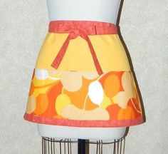 Flower Power Apron waiter server barista bartender bbq red orange yellow all cotton heavy weight duck cloth hand made by me upcycled fabric by TopDrawerThreads on Etsy