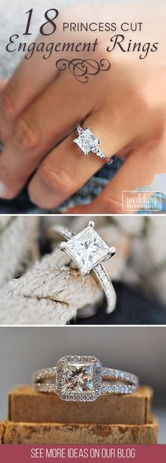 Wedding Rings 18 Breathtaking Princess Cut Engagement Rings ❤ Princess cut engagement rings are alternative to the more popular round brilliant cut. It's combination of tradition and fashion. See more: http://www.weddingforward.com/princess-cut-engagement-rings/ #wedding #engagement #rings
