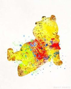 Pooh, Winnie the Pooh Disney Watercolor Print. Prices from $9.95. Available at InkistPrints.com - #disney #watercolor #babyart #decor #nurseryart #Pooh