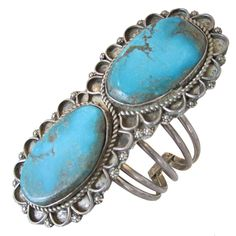 Native American Turquoise and Silver Bracelet - Cuff