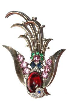 Crown Trifari Sterling Lyre Bird Pin Brooch 1940's