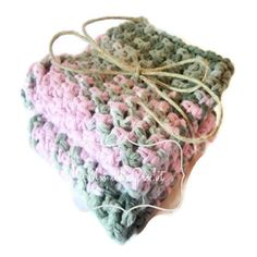 Pink Green Crocheted Dish Cloths, Eco-Friendly Cotton Dishcloth, Washcloth Set of 2 by Moomettes Crochet #preppy #pink #green #homedec #kitchen #crochet #handmade