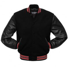 Black Wool and Red Leather Letterman Jacket - C114 US
