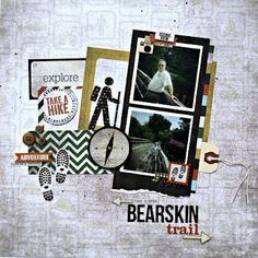 hiking scrapbook layouts | Found on thedesperatescrapper.blogspot.com