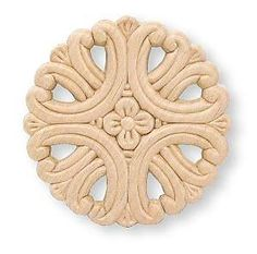 """Birch Wood Applique - Large Round Medallion w/ Cut Outs & Small Flower Center 3-3/4"""""""
