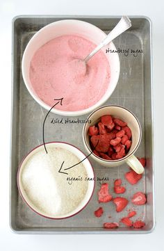 strawberry sugar - 1 c freeze dried strawberries pulsed into a fine powder mixed with 1 c sugar