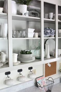 Hello Spring Home Tour- awesome kitchen with doors removed from uppers for open shelving feel