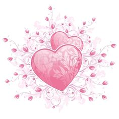 Stock image of 'Abstract Valentines Day Card Template with Hearts and florals'