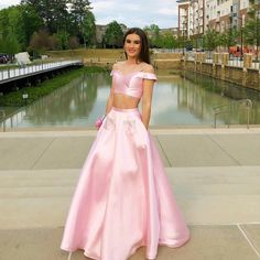 Pink Elegant Strapless Two Pieces Chic Long Evening Dress Grad Ball Prom Gown  #prom2k18 #pinkdress #dressforprom #promdress #twopieces #offshoulder #beauty #gorgeous #chic #prettycool #prettydress #makeup #formals #formaldress #bigday