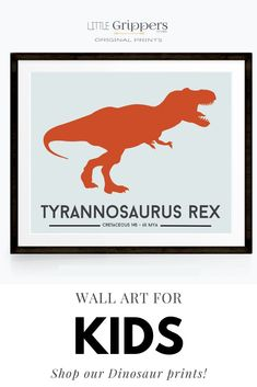 Choose from a selection of 16 different colourful dinosaur to bring any Dinosaur loving toddlers room to life. Customisable size, and colours! #Dinosaur #toddlerboys #kidswallart #colourfulprints Dinosaur Prints, Dinosaur Bedroom, Alphabet Print, Nursery Prints, T Rex, Art For Kids, Toddlers, Kids Shop, Colours