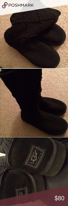 Uggs in Black Knit Size 8. Excellent Condition. Barely worn. UGG Shoes