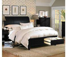 Aspen Home Cambridge Sleigh Storage Bed in Black
