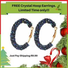 These are for a limited time only. The crystal hoop earrings will be perfect for Christmas. Free Gifts, Crochet Earrings, Hoop Earrings, Crystals, Jewelry, Jewlery, Jewerly, Promotional Giveaways, Schmuck