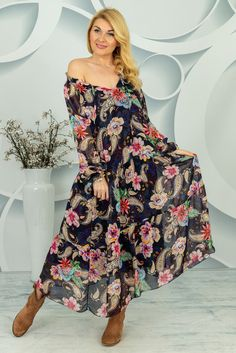 Sukienka Ermenesa Spring Collection, Paisley, Strapless Dress, Shoulder Dress, Dresses With Sleeves, Long Sleeve, Casual, Fashion, Tunic