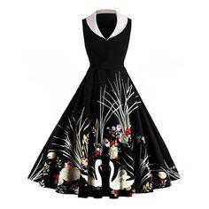 Robe évasée sans manches et à col à châle et imprimée en motif à fleurs - Noir M