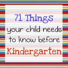 work on for Kindergarten