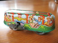 tin toys made in germany | 1950s Metal Windup Trolly Car Made in Western Germany | Tin Toys