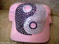 PiNk CADET HAT/CAP★BLiNg CRYSTAL RHINESTONE Large Ying-Yang★NWT