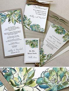 Water Color Succulent Wedding Suite