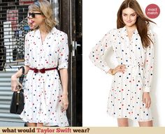 Taylor Swift's White polka dot shirtdress out in New York. Outfit Details: http://wwtaylorw.com/3034