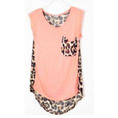 Leopard Sleeveless Pink Chiffon Top