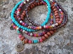 Bohemian Flower Charm Mixed Bead Stretch Stack by Angelof2 on Etsy, $26.50