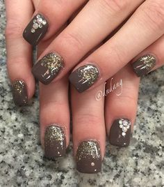 Want a stand out and risqué polish? Why not try this chocolate and gold inspired winter nail art. Sprinkle gold glitter on top and add beads on top to finish the look.