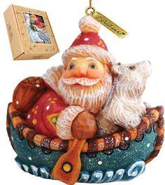 G Debrekht Derevo Boater Santa Figurine Ornament #GDebrekht