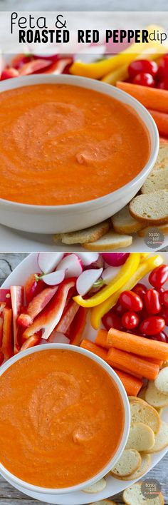 Looking for a super easy appetizer idea?  This Feta and Roasted Red Pepper Dip is only 2 ingredients and can be done in 5 minutes!!