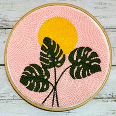 Your place to buy and sell all things handmade Monstera punch needle kit Starter kit Punch needle tutorial Wooden Embroidery Hoops, Hand Embroidery Designs, Embroidery Art, Flower Embroidery, Punch Needle Kits, Punch Needle Patterns, Latch Hook Rugs, Starter Set, Punch Art