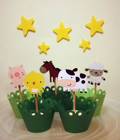 FALL SALE Down on the Farm Barn Themed Animals Party Cupcake Toppers / Cake Topper / Mini Cupcake Toppers / Centerpieces Farm Animal Party, Barnyard Party, Farm Party, 1st Birthday Boy Themes, Kids Party Themes, 3rd Birthday Parties, Cowboy Birthday, Farm Birthday, Animal Birthday