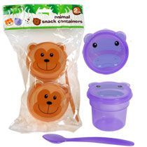 kids animal friends snack containers with a spoon.