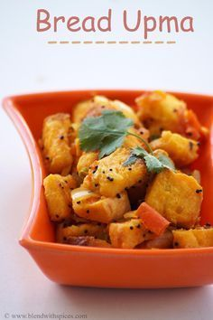 Bread Upma Recipe - How to make South Indian Upma Recipe with bread slices - http://blendwithspices.com