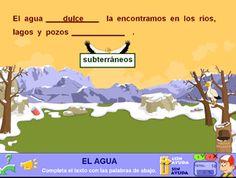 Juego de completar frases sobre el tema del #agua #lectura #comprension #ciencia #medio #medioambiente #profesores