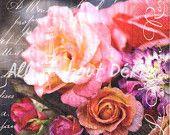 Set of 4 Decoupage Napkins - Flowers, Botanic & Butterflies, Collage of 4 Designs of Paper Napkin, Serviettes, Scrapbooking, Mixed Media